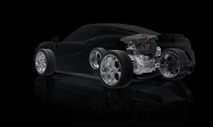 Alfa Romeo 4C приводится в действие поперечным I4-турбо, передавая момент на задние колеса через коробку передач двойного сцепления с 6 скоростями.